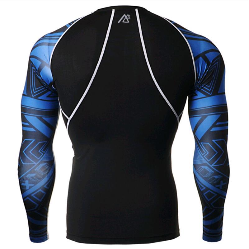 Мужские компрессионные футболки + штаны, комплекты для тренировок, спортзала, бега, ММА, тяжелой атлетики, фитнеса, кожи, обтягивающие базовы... - 3