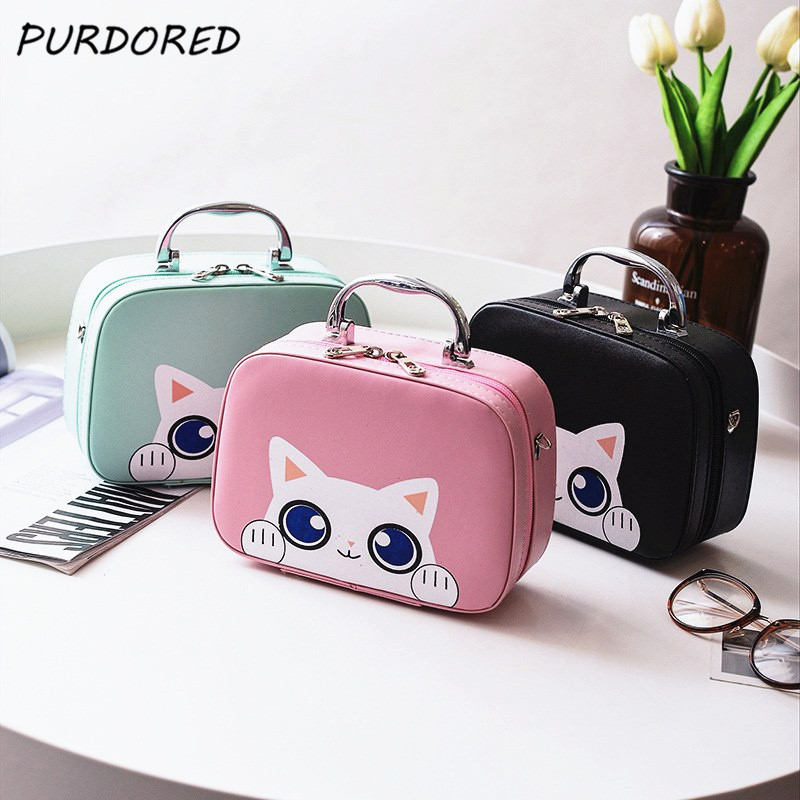 PURDORED 1 Pc Cartoon Cosmetic Box PU Leather Portable Women Cute Cat Makeup Storage Box Travel Wash Storage Bag Organizador