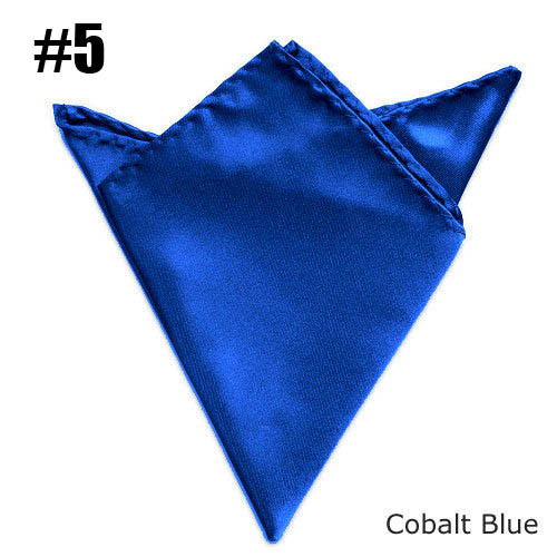 Fashion Mens Solid Pocket Square Cobalt Blue Towel Wedding Satin Handkerchief Match Suit Free Shipping 24 Colors For Choose