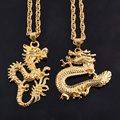 New Year Gift Gold Chinese Carved Dragon Lucky Pendant  Necklaces For Hip Hop Men Accessories Long Body Chain Jewelry Bijoux