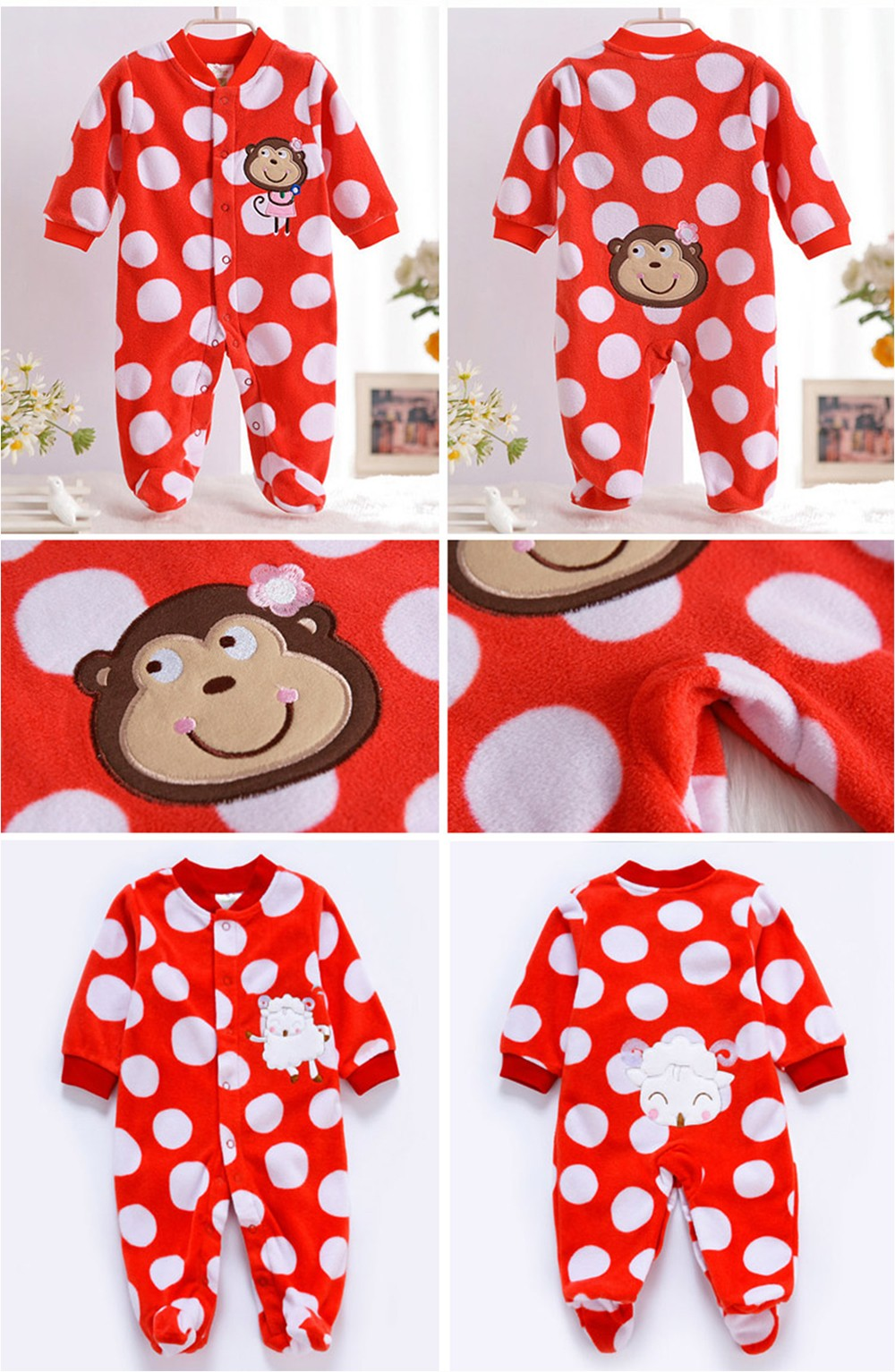 2016-Autumn-Spring-Wave-Point-Baby-Fleece-Pajamas-Rompers-One-Pieces-Long-Sleeve-Jumpsuit-Cute-Animal-Baby-Sleep&Play-Clothes-CL0886 (9)