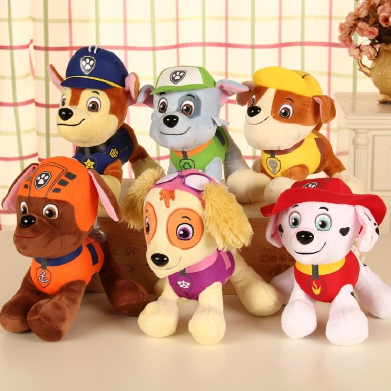 Paw patrol brinquedos de pelúcia patrulha canina, 6 pçs/lote, desenhos animados, brinquedos, filhote de cachorro, cães, boneca canina, recheada e pelúcia, animais, brinquedo, presente