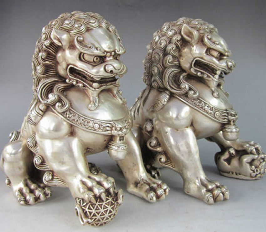A Pair of Elaborate Chinese Tibetan Silver Guardian Lion Foo Fu Dog Statues in Figurines Miniatures from Home Garden