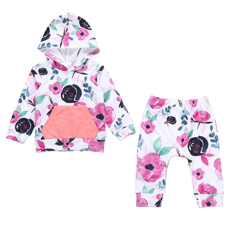 Baby Girls Clothes Sets Kids Girl Long Sleeve Floral Print Hooded Tops+Pants Outfits Set Spring Autumn 2pcs