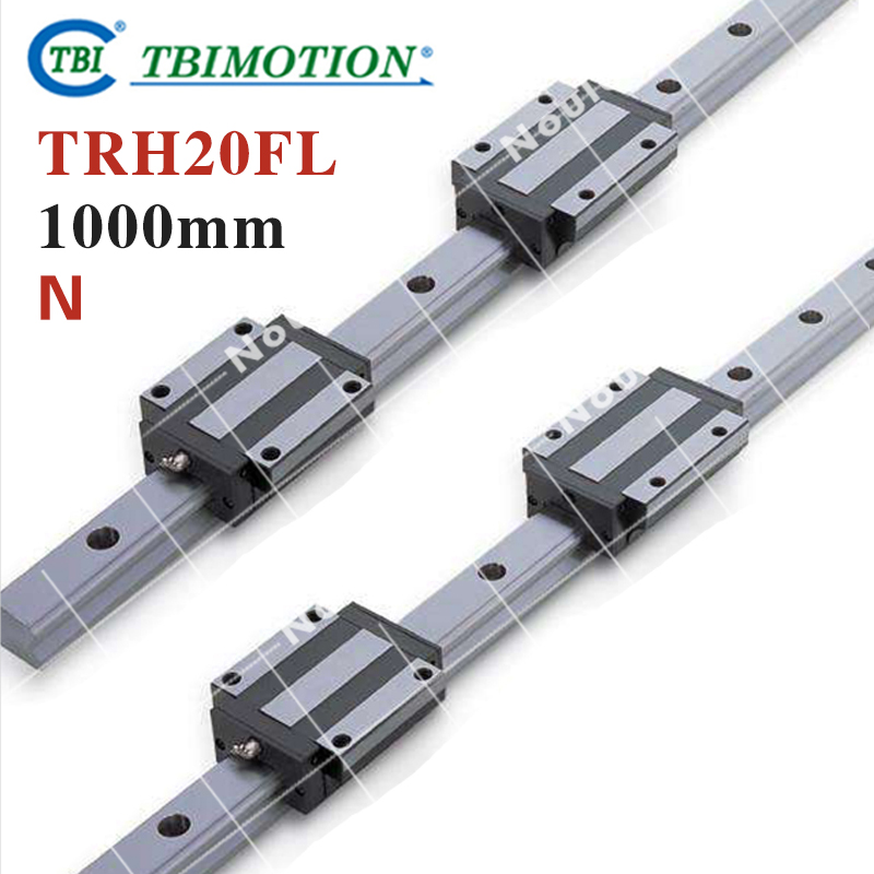 TBI 2pcs TRH20 1000mm Linear Guide Rail+4pcs TRH20FL linear block for CNC high precision low manufacturer price 1pc trh20 length 1800mm linear guide rail linear guideway for cnc machiner