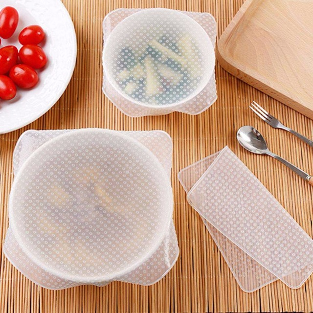 Nosii 4 pcs/Lot Food Cover Fresh Keeping Wrap Multifunctional Reusable Silicone Vacuum Food Seal Lid Wrap Stretch Kitchen Tool