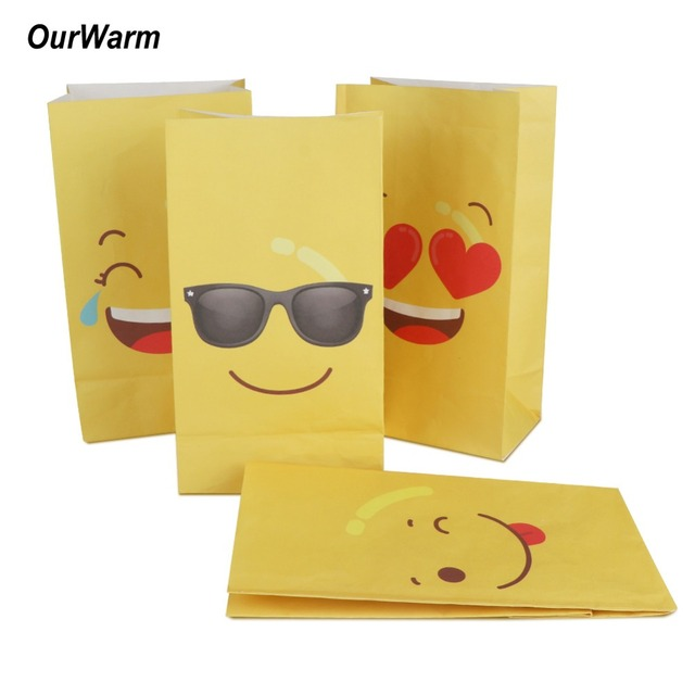 OurWarm 12Pcs Emoji Paper Bags For Gifts Party Supplies Gift Bag Birthday Decorations Kids