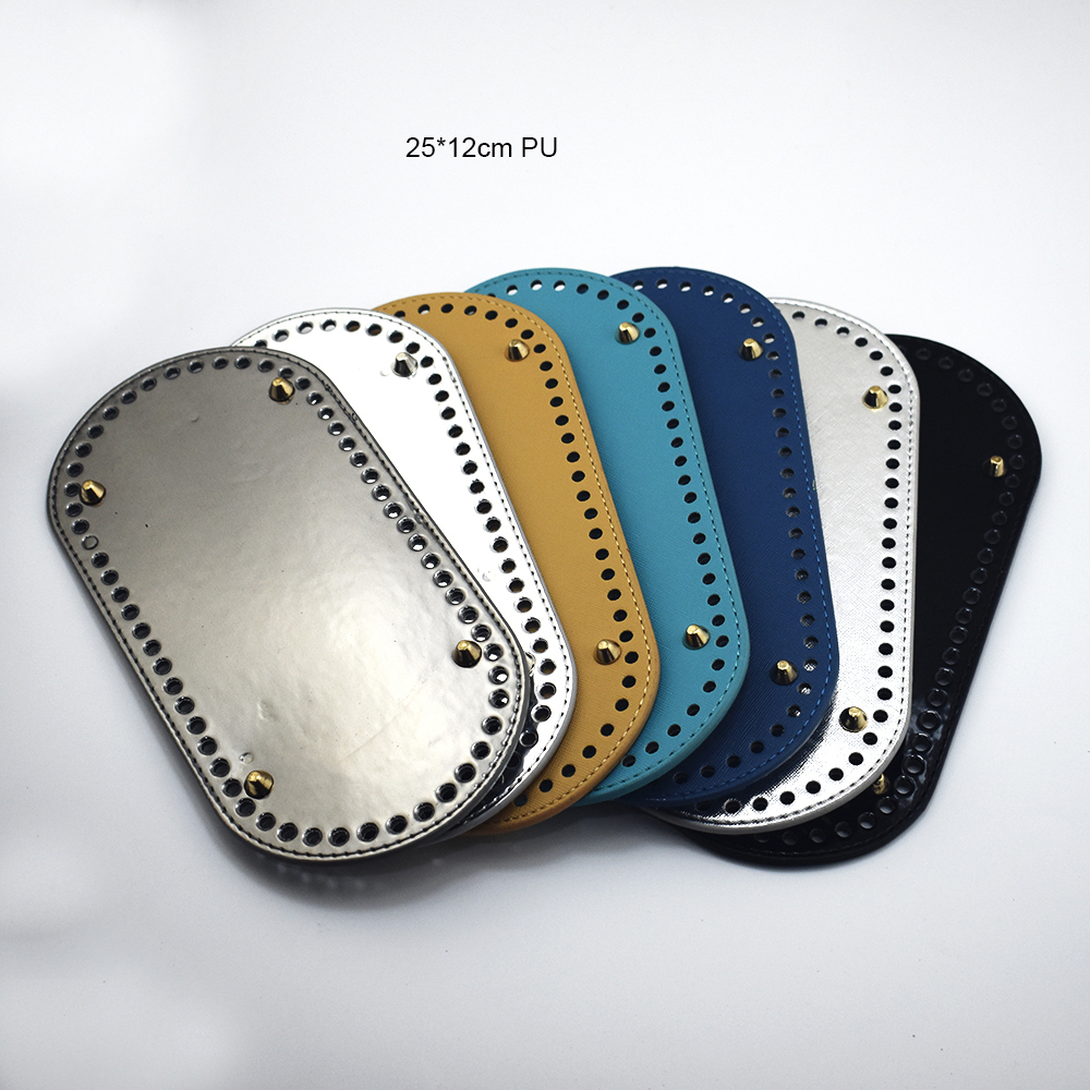 25x12cm Bag Bottom Oval Leather Bottoms With Holes Bag Accessories DIY Part PU Glossy For Handbag Crossbody Messenger Bags