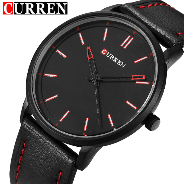 2016 New Luxury Brand Curren Men Leather Band Sports Watches Men's Quartz Analog Clock Male Casual Ultra Thin Dial Wrist Watch fabulous 2016 quicksand pattern leather band analog quartz vogue wrist watches 11 23