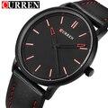 2016 Nova Marca de Luxo Curren Homens Pulseira de Couro Relógios Desportivos dos homens de Pulso de Quartzo Analógico Mostrador do Relógio Casual Masculino Ultra Fino relógio