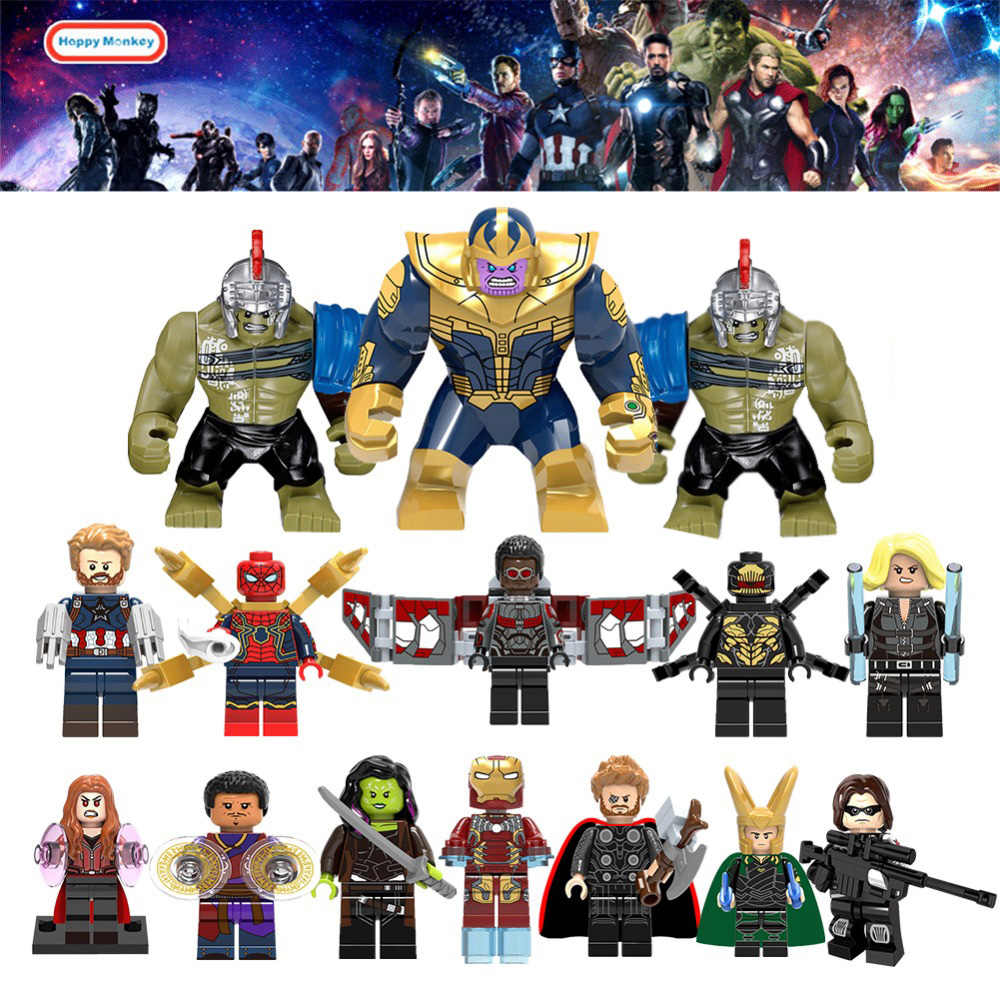 For Super Heroes Legoinglys Avengers 3 Infinity War Thanos Thor Black Panther Falcon Gamora Hulk Wong Loki Building Blocks zk30