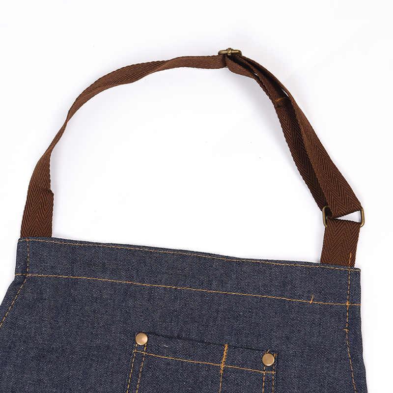 2019 חדש סינרי ג 'ינס פשוט כחול אחיד לשני המינים למבוגרים ג' ינס סינרי אישה גברים של זכר גברת של מטבח בישול סינרים