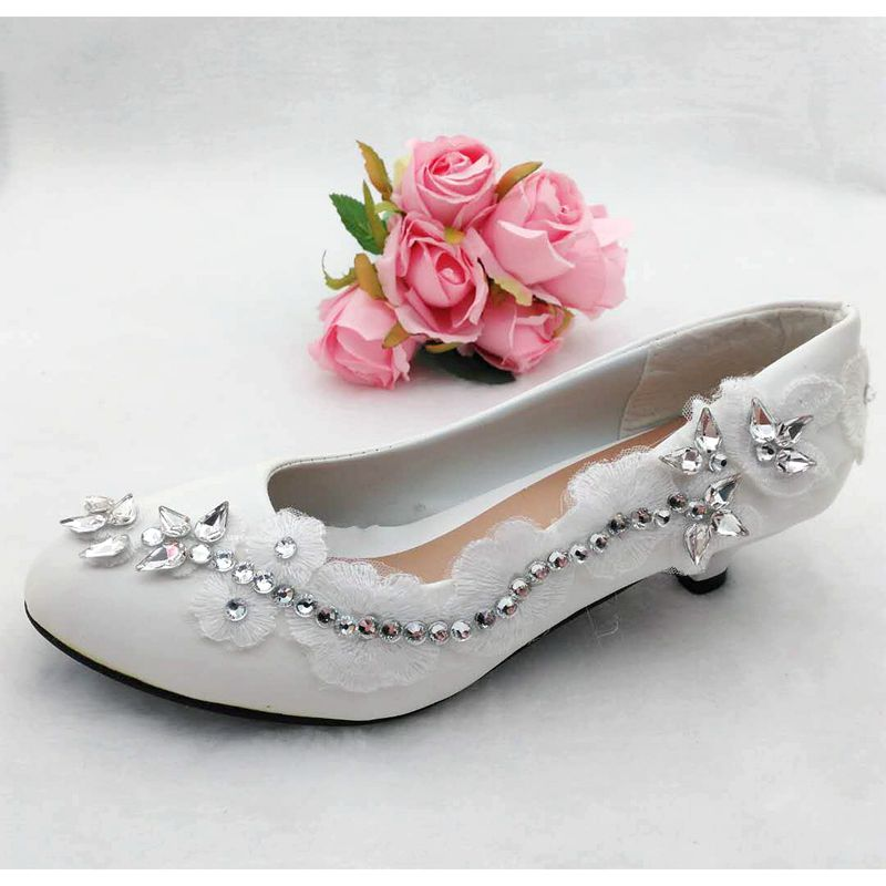 Small Low Heel Luxury Silver Crystal Rhinestones Wedding Shoes Bride Custom Handmade Sweet Lace Bridal Shoes Proms Dress Pump In Women S Pumps From