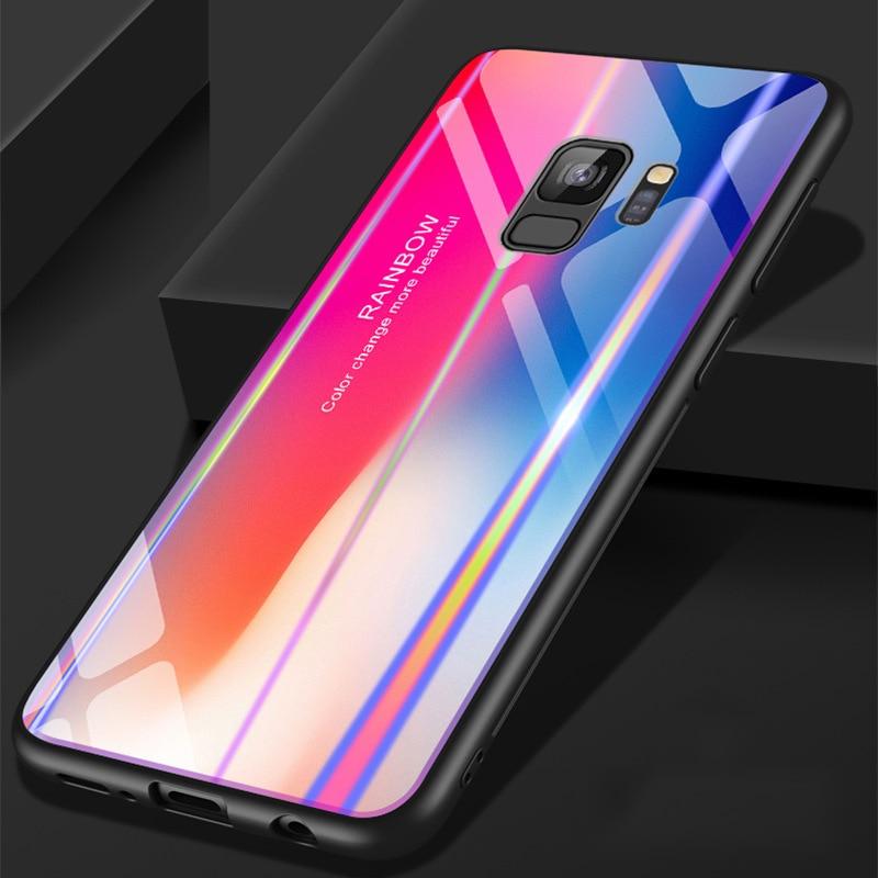 Samsung S9 Case S9 Plus rəngsiz 9H Temperli Şüşə Aurora Gradient - Cib telefonu aksesuarları və hissələri - Fotoqrafiya 1