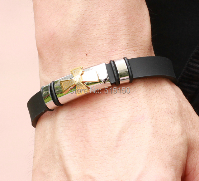 Silver Gold Choose! Shiny Jewelry 316L Silver Stainless Steel Black Genuine Silicone Belt Bracelet Cross Charm Men's Cuff Bangle