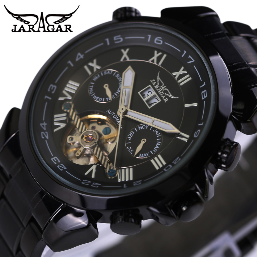 JARAGAR Mens Watches Top Brand Luxury Automatic Watch Tourbillon Classic Black Case Calendar Male Clock Black Mechanical Watch jaragar classic dual movement design automatic quartz watches clock mens watches top brand luxury watch men skeleton wrist watch