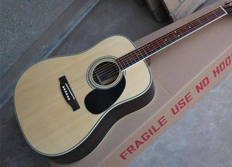 Usine Personnalisée 41 ''Solide Spurce Haut Dos en Érable Côté Touche En Palissandre Guitare Acoustique peut ajouter Fishman ramassage EQ