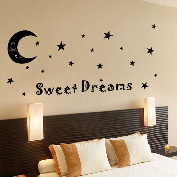 hot sale letters sweet dreams moon stars quote wall decor for bedroom removable vinyl wall sticker - Star Wall Decor