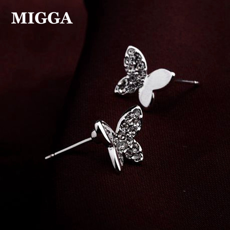 MIGGA Cute Spring Butterfly Earrings for Women and Girls Austrian Crystal Stud Earrings Rose Gold Color