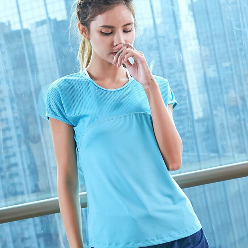 Women hollow running T-shirt mesh breathable sport top fitness clothes