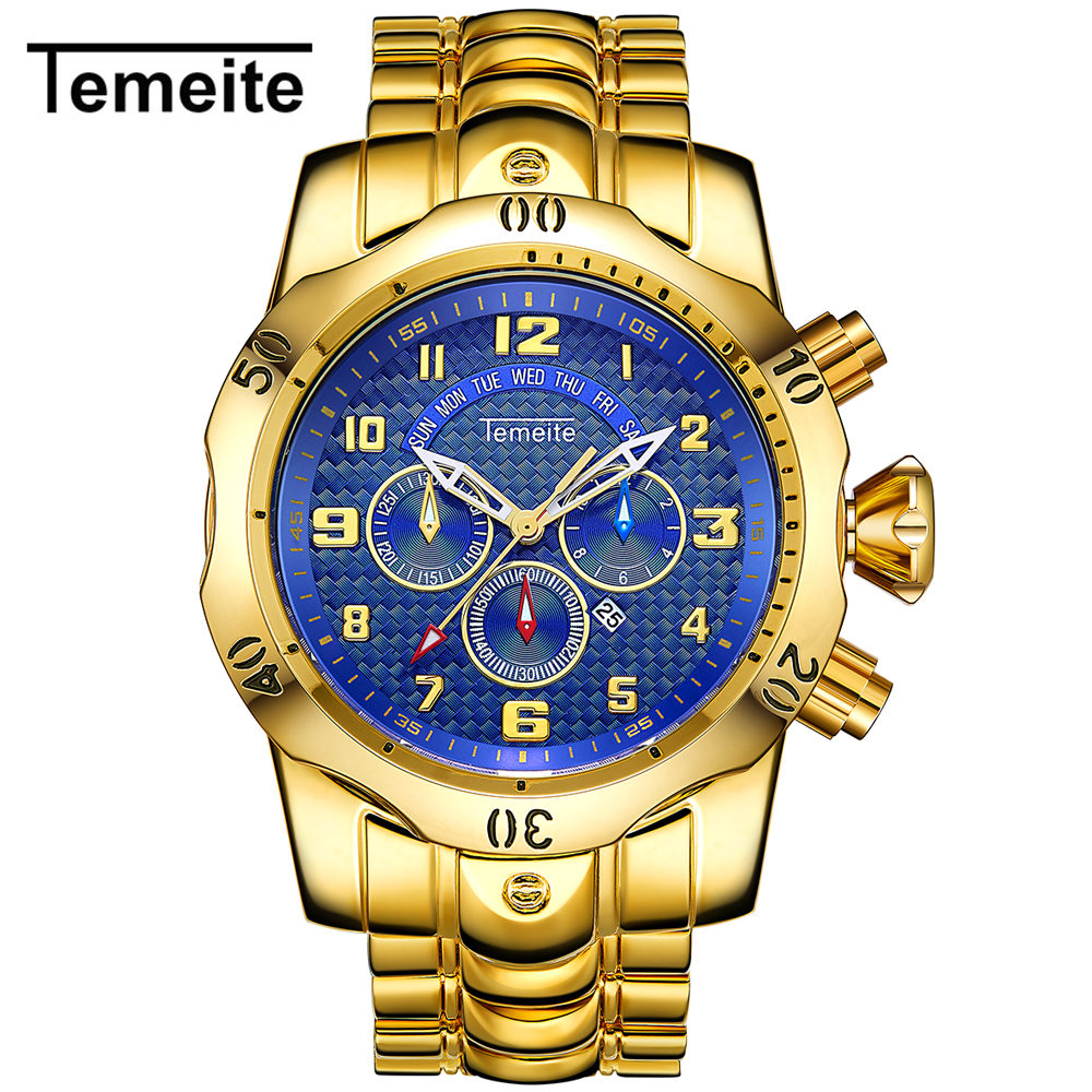 Free Shipping Relogio Masculino Men's Quartz Watch TEMEITE Watches Men Luxury Gold Business Man Clock Waterproof Wristwatches
