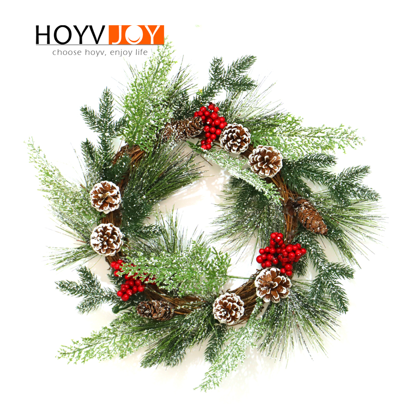 HOYVJOY Christmas Wreaths for Home Decorations Harvest Garlands Pine Cone Design Handing on The Wall Door Decoration