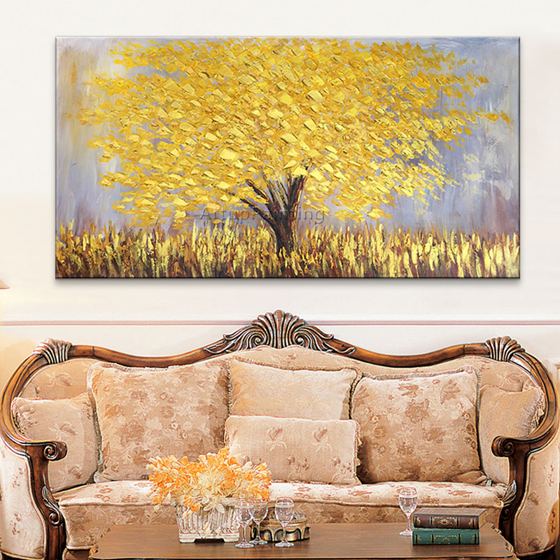 Canvas Oil Painting, Hand Painted palette knife 3D texture Flower and Tree ,Wall Pictures For Living Room home decor,wall art