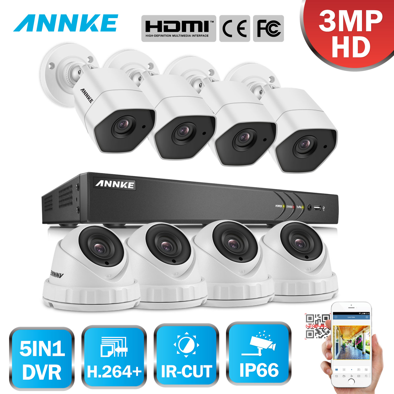 ANNKE Full HD 8CH 3MP H.264+ DVR 1920*1536 CCTV System 8pcs 3MP IR Outdoor Weatherproof Security Camera Video Surveillance Kit цена в Москве и Питере
