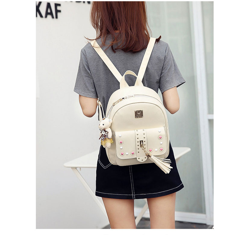 Backpack Female 3 Piece Combination Composite Bag Bear Hanging Inlaid Imitation Diamond Tassel Fashion Casual Shoulder Bag 60