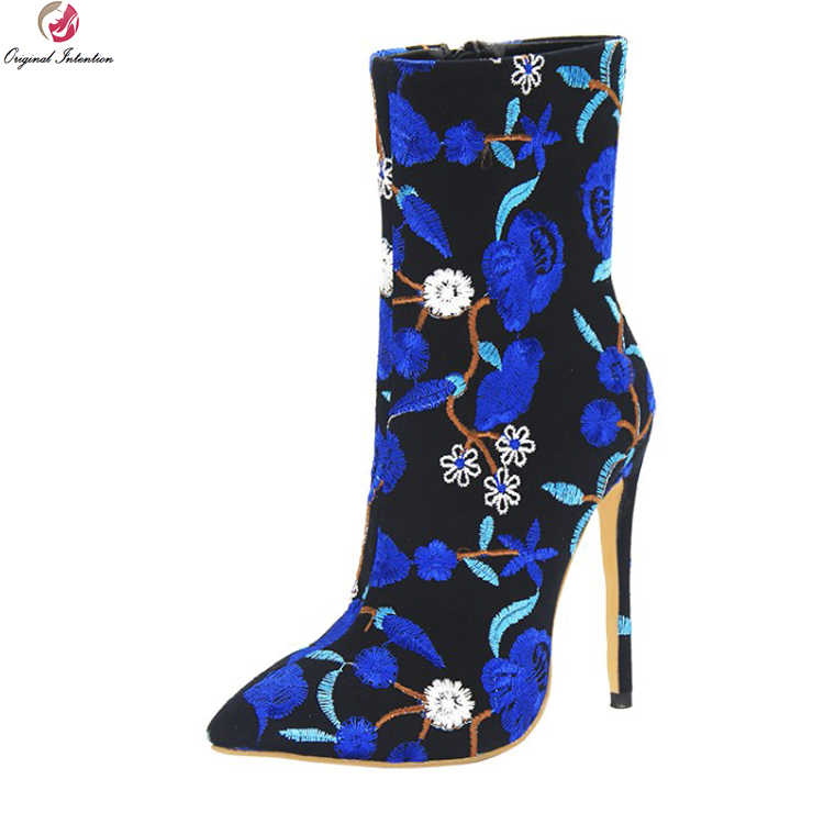d07092545ec Original Intention New Gorgeous Women Ankle Boots Pointed Toe Thin High  Heels Boots Blue Green Shoes