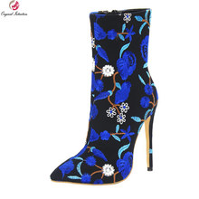 85a3dd96b90012 L'intention initiale Nouveau Magnifique Femmes Cheville Bottes Bout Pointu  Mince haute Talons Bottes Bleu