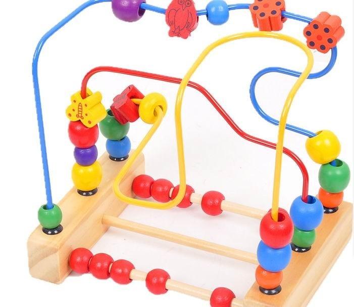 baba fából készült matematikai játékok / gyümölcsmadarak és virágok a gyöngy körül mozognak / Gyerekek gyermek korai tanulási oktatójátékok, ingyenes szállítás