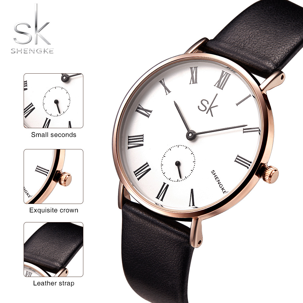Shengke Watch Women Ladies Luxury Brand Quartz 2017 Leather Wrist Watch For Women Female Clock Relogio Feminino Montre Femme rigardu fashion female wrist watch lovers gift leather band alloy case wristwatch women lady quartz watch relogio feminino 25