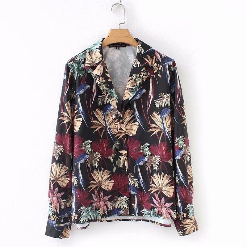 Manga Floral Tropical Mujeres Larga Impresión Camisa Blusa Solapa De UWOx6Yxw