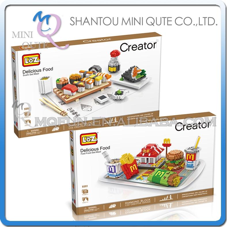 2pcs/lot Mini Qute LOZ 2 styles Kawaii Mcdonald's Sushi kids block plastic cube building blocks brick house educational toy стоимость