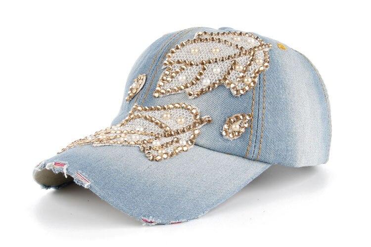 Высокое качество оптом и в розницу JoyMay шляпа Кепки Мода Досуг Стразы х/б джинсы лист Кепки S летние Бейсбол Кепки B235 - Цвет: Color no 2