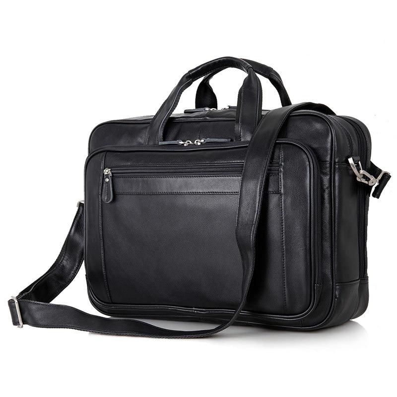 Nesitu Black Office Genuine Leather Men Briefcase Messenger Bags Business Travel Bag 14 15 6