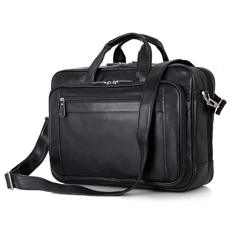 مكتب nesitu الأسود حقيقية جلد الرجال حقيبة رسول حقيبة سفر الأعمال 14 '/15.6'/17 'محمول محفظة M7367-في حقائب جلدية من حقائب وأمتعة على  مجموعة 1