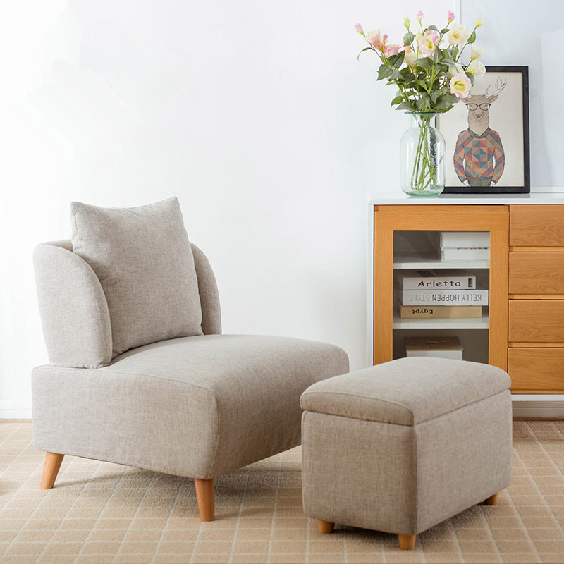 Mid Century Modern Living Room Accent Chair With Footrest