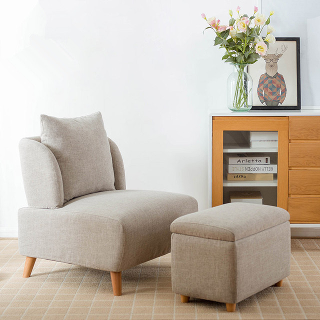 Mid Century Modern Living Room Accent Chair With Footrest / Storage Ottoman  For Bedroom Lounge