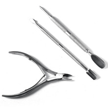 new 3pcs/set Nail Scissor Nail Cuticle Pusher Spoon Stainless Steel Dead Skin Remover Cutter Nipper Clipper Cut Set nail tools