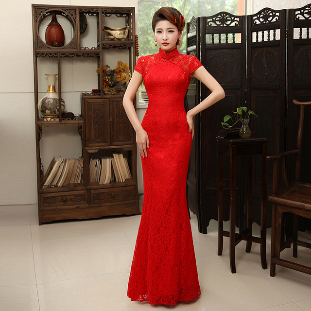 2017 Fashion Red Lace Cheongsam Dress Bride Wedding Qipao Long Cheongsam Chinese Traditional Wedding Dress Qi Pao