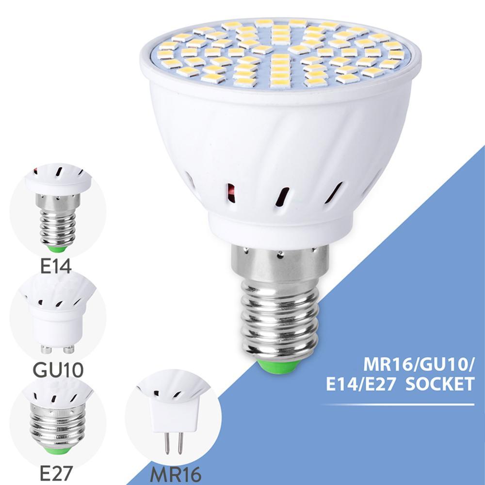 LED Spot Lamp Bulb 110V 220V 230V E27 GU10 MR16 Spotlight SMD2835 48/60/80 LEDs Spot Light For Kitchen Home Decor Lighting