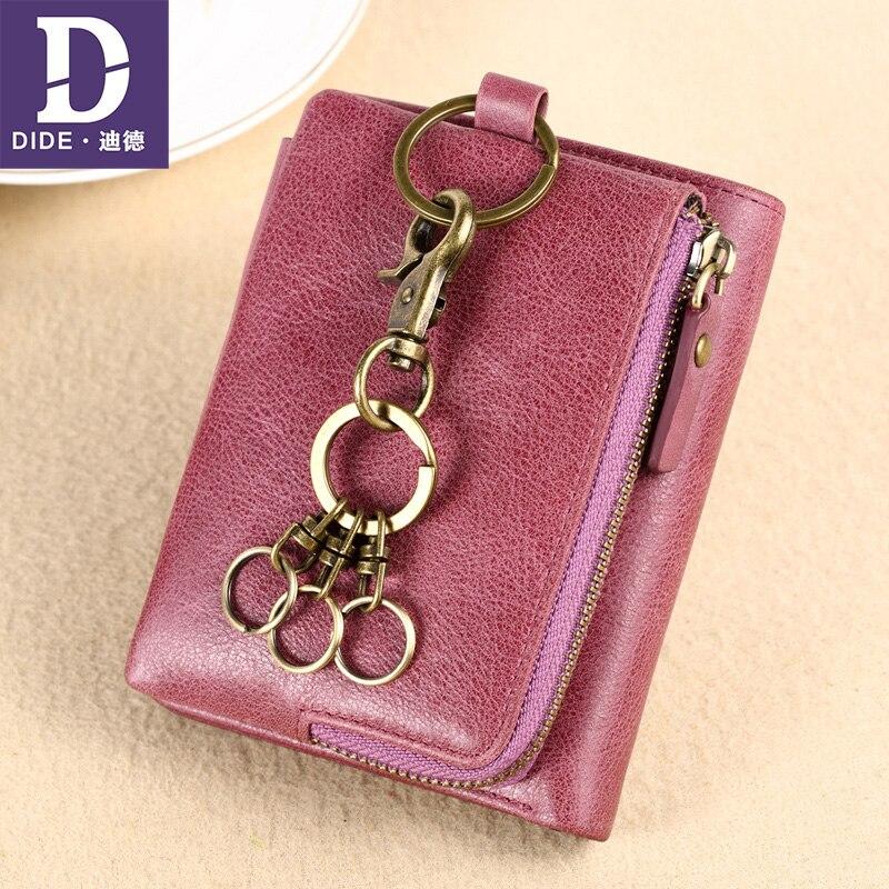 DIDE Genuine100% Genuine Leather Wallet For Women Wallet Lovely For Women Purse Female Coin Card Clutch Purses zipper Coin DQ629 fsinnlv genuine leather wallet for women zipper