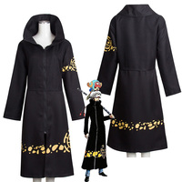 Anime One Piece Cosplay Costume Trafalgar Law 2nd Cloak Men Adult Black Overcoat Japanese long Sleeve With Hat For Halloween