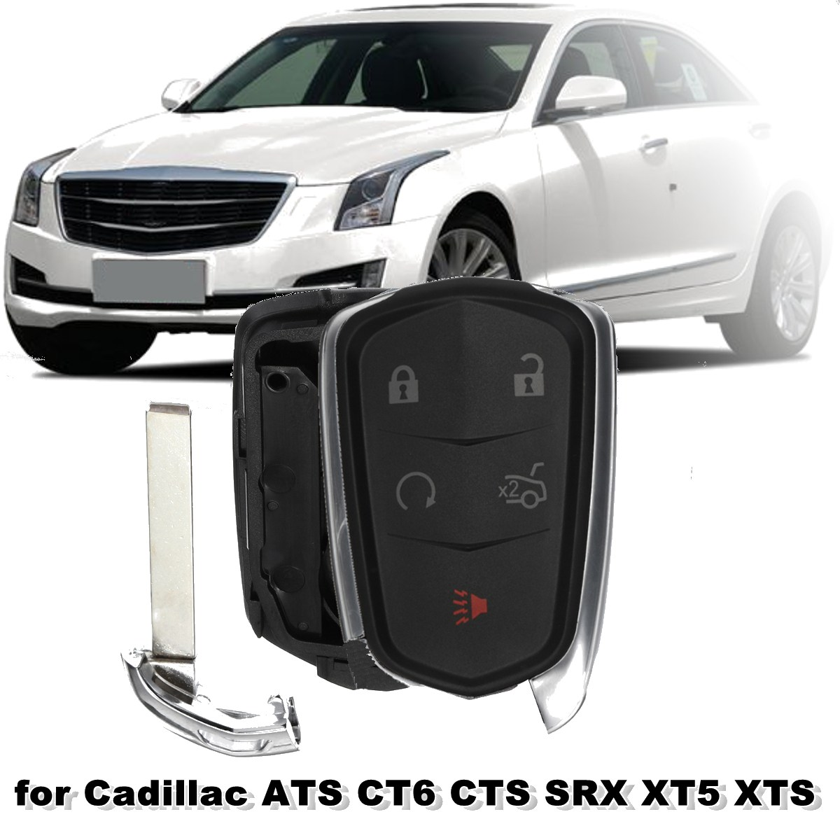 #HYQ2AB #HYQ2EB #1511A-2B #1511A-2EB 5 Buttons Remote Key Case Fob Shell For Cadillac ATS CT6 CTS SRX XT5 XTS 2014 2015 2016