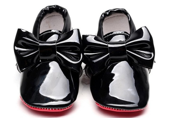 af768c0abad Hongteya New Patent leather Red bottom sole Baby Moccasins baby boys girls  Shoes with bow-tie Infant toddler first walkers