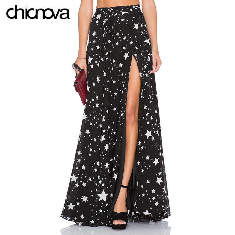 87484fee2 Cheap Faldas largas de cintura alta para mujer 2016 plisadas con estampado  de estrellas hasta el
