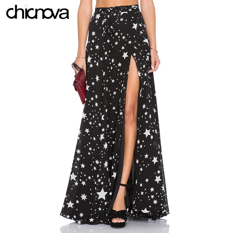 High Waist Long Skirts Womens 2016 Pleated Star Printing Floor Length Chiffon Split Skirt FS0277