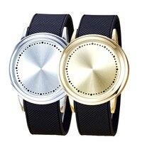 Mode Paar Touchscreen Kreisförmigen Muster Silikon-band LED Armbanduhr Freie Fallendes montre homme uhr edelstahl stee au3